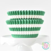Green Stripe Cupcake Liners