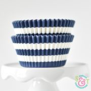 Navy Stripe Cupcake Liners