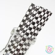 Black Checkered Paper Straws