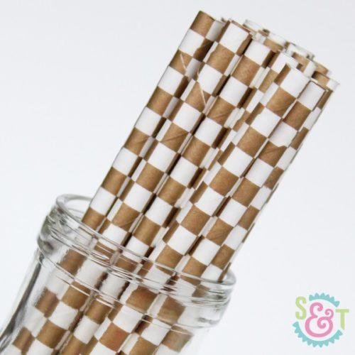 Gold Checkered Paper Straws
