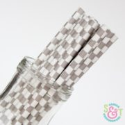 Gray Checkered Paper Straws