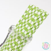 Green Checkered Paper Straws