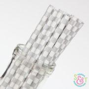 Silver Checkered Paper Straws