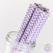 Light Purple Chevron Paper Straws
