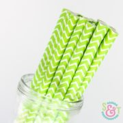 Lime Chevron Paper Straws
