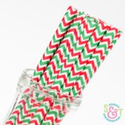 Red and Green Chevron Paper Straws