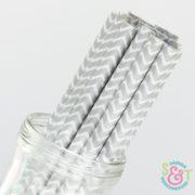 Silver Chevron Paper Straws