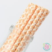 Orange Damask Paper Straws