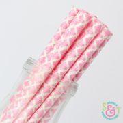Pink Damask Paper Straws