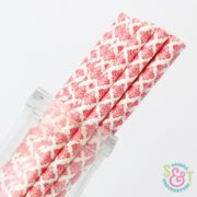 Red Damask Paper Straws