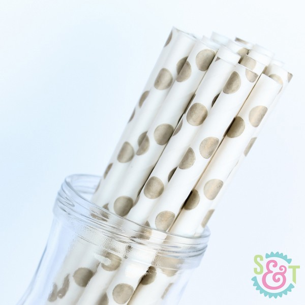 Gold Dots Paper Straws