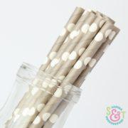 Gray Dots Paper Straws