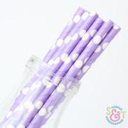 Light Purple Dots Paper Straws