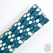 Navy Dots Paper Straws