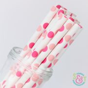 Pink/Light Pink Dots Paper Straws