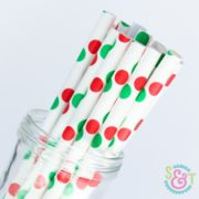 Red/Green Dots Paper Straws