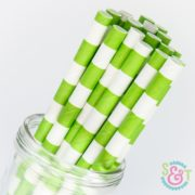 Lime Rugby Stripe Paper Straws