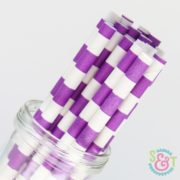 Purple Rugby Stripe Paper Straws
