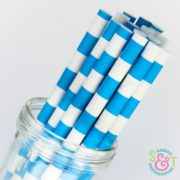 Blue Rugby Stripe Paper Straws