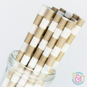 Gold Rugby Stripe Paper Straws
