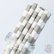 Gray Rugby Stripe Paper Straws