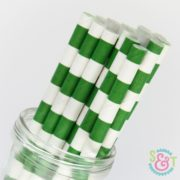 Green Rugby Stripe Paper Straws