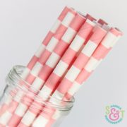Light Pink Rugby Stripe Paper Straws