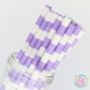 Light Purple Rugby Stripe Paper Straws