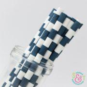 Navy Rugby Stripe Paper Straws