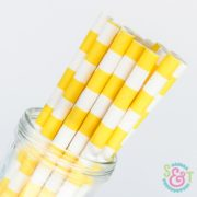 Yellow Rugby Stripe Paper Straws
