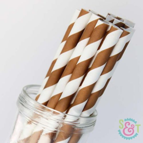 Brown Stripe Paper Straws