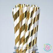 Gold Foil Stripe Paper Straws