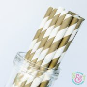 Gold Bronze Stripe Paper Straws