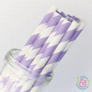 Light Purple Stripe Paper Straws