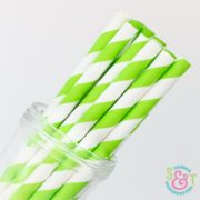 Lime Stripe Paper Straws
