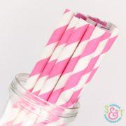 Pink Stripe Paper Straws