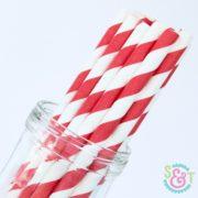 Red Stripe Paper Straws