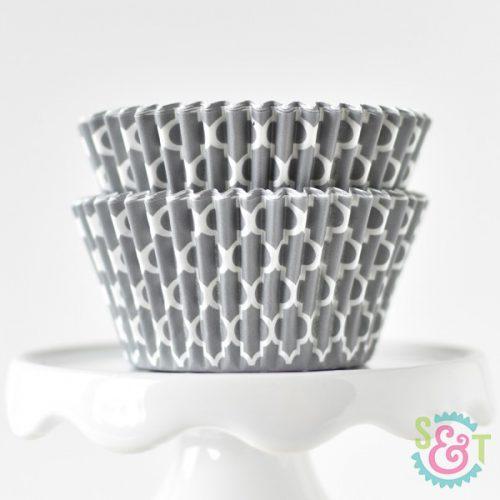 cupcake liners quatrefoil gray